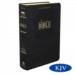 New Platinum Remnant Study KJV Bible BLACK Top Grain Leather